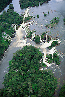 Aerial view of waterfall on Jari River, northern tributary of the Amazon, coming down from Guyana Highlands, Brazil, limit Para/Amapa.