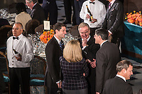 Representative and former Republican Vice Presidential candidate Paul Ryan (R-WI) talks with Rep. Chris Van Hollen (D-MD) and Treasury Secretary nominee Jacob Lew at the Inaugural Luncheon in Statuary Hall at the U.S. Capitol on Monday, January 21, 2013 in Washington, DC.