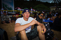 """Waimea Bay, Haleiwa, Oahu, Hawaii (Thursday January 20, 2011) Jamie O'Brien (HAW)..George Downing (HAW) , Contest Director of The Quiksilver In Memory of Eddie Aikau,has called a """"NO GO"""" for competition at Waimea Bay today, based upon the inconsistency of the swell. While there were definitely 20- to 25-foot waves sporadically throughout the morning, the consistency of those large waves was deemed to be insufficient to run the two rounds of competition. The event still has until February 28 to run...""""What we see in conditions like this is just one or two true 'Eddie' size waves in the period of a heat,"""" said Downing. """"With seven surfers in the water per heat, that is not the kind of playing field we need for quality, fair competition...""""It's very easy to get caught up in the excitement when those huge waves come through, and after all of the efforts of the crew and the spectators to get ready for this day. But what keeps this event the greatest big wave event in the world is never relaxing those standards. Eddie never did...""""We will continue to wait. The holding period runs through February 28 and we know that there is definite potential in the coming weeks for more extra large surf to arise. If that day comes, we will be ready to go again...The 15,000-strong crowd that had gathered under moonlight since the very early hours of the morning understood the call and settled in for the day, regardless. With the world's best big wave riders making the most of the opportunity to put some time in at Waimea, they will be treated to spectacular rides throughout the day, without question...2002 Eddie winner and 10X world champion Kelly Slater was in firm agreement with the decision: """"It's a good call."""" said Slater. """"There are big waves out there, but there's not that many of them. It's not what we need..Photo: joliphotos.com"""