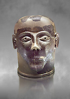 6th century B.C clay head made in Chiusi, inv 94619, National Archaeological Museum Florence, Italy , grey art background