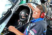 Jun 19, 2015; Bristol, TN, USA; Funny car driver, Terry Haddock with his wife NHRA top fuel driver Jenna Haddock during qualifying for the Thunder Valley Nationals at Bristol Dragway. Mandatory Credit: Mark J. Rebilas-