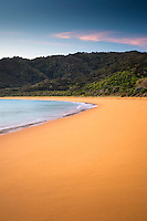 Golden sand of Totaranui beach at sunrise, Abel Tasman National Park, Nelson Region, New Zealand