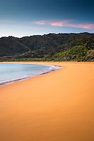 Golden sand of Totaranui beach at sunrise, Abel Tasman National Park, Nelson Region, New Zealand