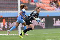 Houston, TX - Saturday April 15, 2017: Alyssa Naeher saves a shot on goal during a regular season National Women's Soccer League (NWSL) match won by the Houston Dash 2-0 over the Chicago Red Stars at BBVA Compass Stadium.