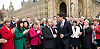 Labour's Wythenshawe and Sale East by-election winner Mike Kane arrives at House of Commons<br /> <br /> 24th February 2014 <br /> <br /> Mike Kane MP for Wythenshawe and Sale East, outside the House of Commons, London, Great Britain <br /> Press conference <br /> <br /> with <br /> <br /> Rt Hon Ed Miliband MP <br /> leader of the Labour Party and various Labour MP's looking on. <br /> <br /> Photograph by Elliott Franks