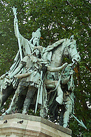 Statue of King Charlemagne standing outside Notre Dame de Paris, Paris, France.