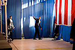 Sen. Barack Obama (D-IL) leaves after holding a presidential campaign rally in Portsmouth, N.H., on Friday, Jan. 4, 2008.