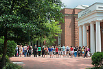 Ohio University community members participate in a noontime vigil for the Emanuel AME church members murdered in Charleston, South Carolina on June 17, 2015. Photo by Ben Siegel