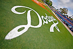 12 March 2008: The Los Angeles Dodgers logo is freshly painted on the grass at Holman Stadium, in Vero Beach, Florida. 2008 marks the final season of Spring Training at Dodgertown for the Dodgers, as the team will move to new training facilities in Arizona starting in 2009 after 60 years in Florida...Mandatory Photo Credit: Ed Wolfstein Photo