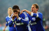 FUSSBALL   1. BUNDESLIGA   SAISON 2012/2013    18. SPIELTAG FC Schalke 04 - Hannover 96                           18.01.2013 Jefferson Farfan (li) und Benedikt Hoewedes (re, beide FC Schalke 04)  jubeln nach dem  Treffer zum 1:0