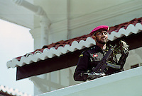 Military security commando guards government building in Colombo, Sri Lanka