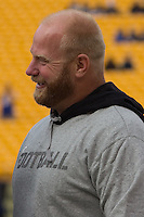 Pittsburgh Steelers defensive lineman Chris Hoke gets interviewed before the game.The Utah Utes defeated the Pitt Panthers 26-14 at Heinz Field, Pittsburgh, Pennsylvania on October 15, 2011.