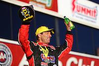 Nov 13, 2016; Pomona, CA, USA; NHRA pro stock driver Greg Anderson celebrates after winning the Auto Club Finals at Auto Club Raceway at Pomona. Mandatory Credit: Mark J. Rebilas-USA TODAY Sports