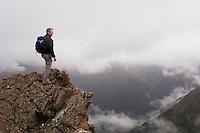 Tramper in Arthur's Pass national park, New Zealand