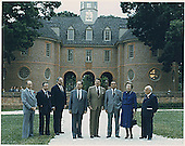 Williamsburg, VA - May 29, 1983 -- &quot;Class photo&quot; of the G-7 leaders from the  Economic Summit in Williamsburg, Virginia on May 29, 1983.  From left to right:  Prime Minister Pierre Trudeau of Canada, President Gaston Thorn of the European Commission, Chancellor Helmut Kohl of West Germany, President Francois Mitterrand of France, President Reagan, Prime Minister Yasuhiro Nakasone of Japan, Prime Minister Margaret Thatcher of the United Kingdom, and Prime Minister Amintore Fanfani of Italy..Credit: White House via CNP