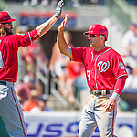 15 March 2016: Washington Nationals infielder Danny Espinosa celebrates scoring during a Spring Training pre-season game against the Houston Astros at Osceola County Stadium in Kissimmee, Florida. The Nationals defeated the Astros 6-4 in Grapefruit League play. Mandatory Credit: Ed Wolfstein Photo *** RAW (NEF) Image File Available ***
