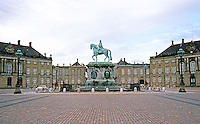 Copenhagen: Amalienborg Palace. Equestrian statue (Frederick V)  by Sculptor Jacques-Francois-Joseph Saly. Unveiled in 1771. Changing of the guard occurs here.