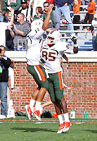 Oct 30, 2010; Charlottesville, VA, USA;   Miami Hurricanes quarterback Stephen Morris (17) celebrates with Miami Hurricanes wide receiver Leonard Hankerson (85) after a touchdown catch during the game at Scott Stadium. Virginia won 24-19. Mandatory Credit: Andrew Shurtleff