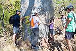 People hugging a Boab tree at Raft Point, Kimberly Coast, Australia