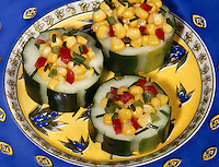 Cucumbers Stuffed with Corn Salad