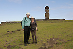 Chile, Easter Island:  Travel Journalists Lee Foster and Ann Purcell at Ahu Tahai..Photo #: ch359-33125..Photo copyright Lee Foster www.fostertravel.com lee@fostertravel.com 510-549-2202