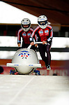18 November 2005: Suzan Gavine-Hlady pilots Canada 3 to a 5th place finish at the 2005 FIBT AIT World Cup Women's Bobsleigh Tour at the Verizon Sports Complex, in Lake Placid, NY. Mandatory Photo Credit: Ed Wolfstein.