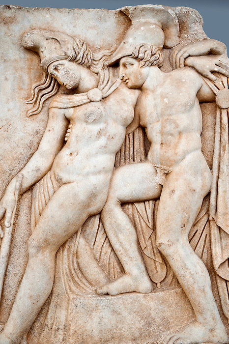 Roman relief sculpture, Aphrodisias, Turkey, Images of Roman art bas reliefs.  Achilles supports the dying Amazon queen Penthesilea whom he has mortally wounded. Her double headed axe slips from her hands. The queen had come to fight against the Greeks in the Trojan war and Achilles fell in love with her.