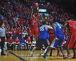 Ole Miss guard Trevor Gaskins (23)  shoots at the C.M. &quot;Tad&quot; Smith Coliseum in Oxford, Miss. on Tuesday, February 1, 2011. Ole Miss won 71-69.