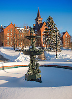 The Howard Fountain. UVM Winter Campus