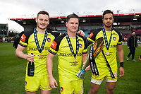 George Worth, Freddie Burns and Peter Betham of Leicester Tigers pose with the Anglo-Welsh Cup trophy. Anglo-Welsh Cup Final, between Exeter Chiefs and Leicester Tigers on March 19, 2017 at the Twickenham Stoop in London, England. Photo by: Patrick Khachfe / JMP