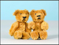 BNPS.co.uk (01202 558833)<br /> Pic: SAS/BNPS<br /> <br /> Two post-war Schuco miniature teddy bears estimated at &pound;100.<br /> <br /> One woman's epic collection of more than 600 teddy bears is expected to fetch &pound;40,000 when it goes under the hammer.<br /> <br /> The late Yvonne Crompton amassed 635 bears, as well as teddy ornaments and pictures, over 50 years of collecting and had many limited edition models.<br /> <br /> Her vast collection filled a whole room from floor-to-ceiling at her five-bedroom family home in Wimbledon, south west London.<br /> <br /> Mrs Crompton spent decades scouring car boot sales, antique fairs and specialist exhibitions for her bears, which her husband Rufus would also often buy her as presents.