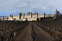General view of Citadel of Carcassonne, 13th century, and adjacent vineyard, Carcassonne, Aude, France, pictured on February 24, 2007, on a cloudy winter afternoon. The two outer walls of the concentric fortified city are defended by towers and barbicans, and a draw bridge across a moat leads to the keep of the castle. Carcassonne was a stronghold of Occitan Cathars during the Albigensian Crusades but was captured by Simon de Montfort in 1209. He added extra fortifications and Carcassonne became a citadel on the French border with Aragon. The fortress was restored in 1853 by Eugene Viollet-le-Duc. Today it is a UNESCO World Heritage site. Picture by Manuel Cohen.