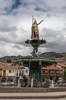 Peru, Cusco.  Inca King Pachacutec on Fountain in the Plaza de Armas.