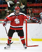 George Hughes (St. Lawrence - 15) - The St. Lawrence University Saints defeated the Harvard University Crimson 3-2 on Friday, November 20, 2009, at the Bright Hockey Center in Cambridge, Massachusetts.
