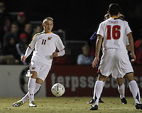 Casey Townsend #11 of the University of Maryland passes to Paul Torres #16 during an NCAA 3rd. round match against Penn State at Ludwig Field, University of Maryland, College Park, Maryland on November 28 2010.Maryland won 1-0.