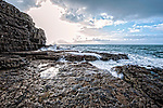 Rocky coastline with sea