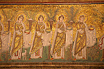 Detail of mosaics in the Basilica of Sant'Apollinare Nuovo in Ravenna, Italy depicting a procession of 22 Virgins, led by the Three Magi who are moving towards the Madonna and Child.