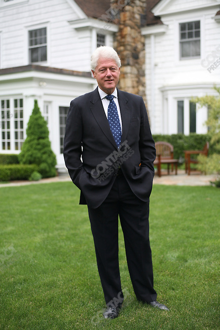 Former US President Bill Clinton in the yard of his and Hillary Clinton's home in Chappaqua, New York, USA, May 15, 2008.