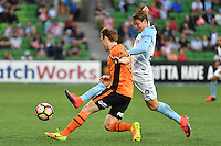 Melbourne, 3 December 2016 - COREY BROWN (5) of Brisbane Roar and NICK FITZGERALD (12) of Melbourne City fight for the ball in the round 9 match of the A-League between Melbourne City and Brisbane Roar at AAMI Park, Melbourne, Australia. Melbourne drew with Brisbane 1-1 (Photo Sydney Low / sydlow.com)