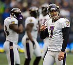 Baltimore Ravens kicker Billy Cundiff walks off the field after kicking a 35-yard field goal against the Seattle Seahawks at CenturyLink Field in Seattle, Washington on November 13, 2011. The Seahawks beat the Ravens 22-17.  ©2011 Jim Bryant Photo. All Rights Reserved.
