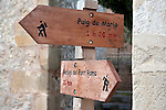 Hiking and Trekking Sign in Pollenca, Majorca, Spain