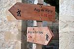 Hiking and Trekking Sign in Pollenca, Majorca, Spain