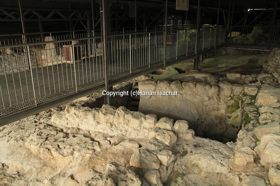 Israel, Jerusalem, the City of David, ruins of a large stone structure of the 10th century B.C., identified as King David's palace by archaeologist Eilat Mazar