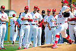 10 March 2010: St. Louis Cardinals' pitchers watch Brad Penny take his pre-game warm-up pitches prior to a Spring Training game against the Washington Nationals at Roger Dean Stadium in Jupiter, Florida. The Cardinals defeated the Nationals 6-4 in Grapefruit League action. Mandatory Credit: Ed Wolfstein Photo