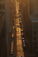 Person Walking Sunrise, Street, Dumbo, Brooklyn, New York City, New York, USA
