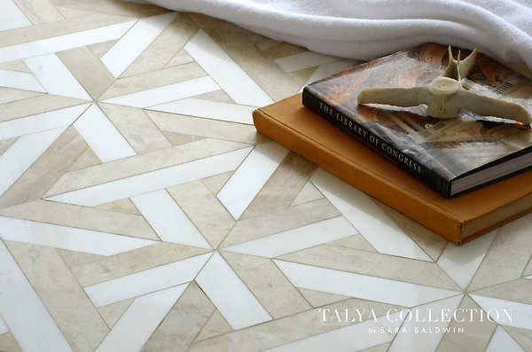 Rubicon, a stone waterjet mosaic shown in Snow White polished and Diana Royal honed, is part of the Talya Collection by Sara Baldwin for Marble Systems.