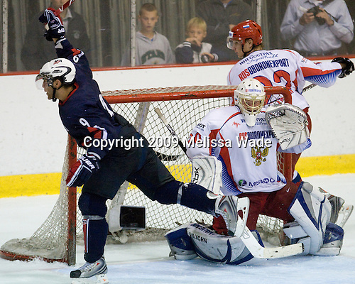 Jerry D'Amigo (US - 9), Dmitry Shikin (Russia - 20), Evgeny Timkin (Russia - 22) - Team USA defeated Team Russia 6-1 in their second game during the 2009 USA Hockey National Junior Evaluation Camp on Wednesday, August 12, 2009, in the USA (NHL-sized) Rink in Lake Placid, New York.