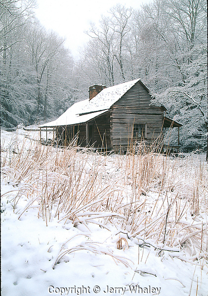 Bud Ogle Cabin Snow Great Smoky Mountains Jerry Whaley