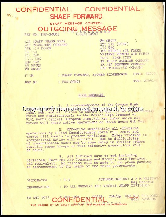 BNPS.co.uk (01202 558833)<br /> Pic: AutographAuctions/BNPS<br /> <br /> Dwight D Eisenhower&rsquo;s Total Cease Fire Order, given on 7th May 1945 following the German surrender. <br /> <br /> The final Allied intelligence message of World War Two that reports 'no enemy left to defeat' has emerged 70 years on along with an historic telex announcing the German surrender.<br /> <br /> The secret message was from the Cipher Office and dated May 8, 1945. The copy of the telex message sent from Dwight D Eisenhower to three million Allied troops was sent on the same day.<br /> <br /> Both documents are owned by the same British collector and are to be sold by International Autograph Auctions later this month.