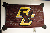 Boston College's road wins are recorded on the flag including April 10, 2010. The Boston College Eagles defeated the Air Force Academy Falcons 2-0 in their NCAA Northeast Regional semi-final matchup on Saturday, March 24, 2012, at the DCU Center in Worcester, Massachusetts.